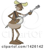 Cartoon Musician Moose Playing A Banjo