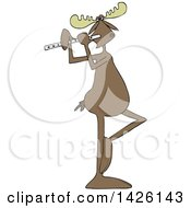 Cartoon Musician Moose Playing A Flute