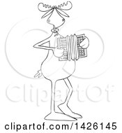 Cartoon Black And White Lineart Musician Moose Playing An Accordion