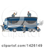 Clipart Of A Team Of Male Mechanics Repairing A Broken Down And Smoking Luxurious Blue Bus Conversion Rv Motorhome Royalty Free Vector Illustration