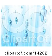 Floating Blue People In A Network Clipart Illustration