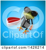 Clipart Of A 3d Green Business Springer Frog Royalty Free Illustration