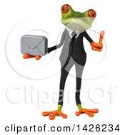 3d Green Business Springer Frog On A White Background