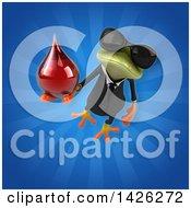 Clipart Of A 3d Green Business Springer Frog Royalty Free Illustration