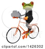 3d Green Business Springer Frog Riding A Bicycle On A White Background