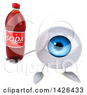 Clipart Of A 3d Blue Eyeball Character On A White Background Royalty Free Vector Illustration