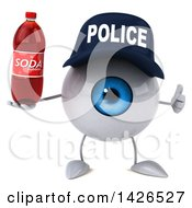 Clipart Of A 3d Blue Police Eyeball Character On A White Background Royalty Free Vector Illustration