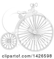 Clipart Of A Cartoon Black And White Lineart Penny Farthing Bicycle Royalty Free Vector Illustration by Alex Bannykh