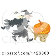 Clipart Of A Halloween Witch Pushing A Jackolantern In A Wagon Royalty Free Vector Illustration by Alex Bannykh