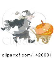 Clipart Of A Cartoon Halloween Witch Pushing A Jackolantern Pumpkin In A Wagon Royalty Free Vector Illustration by Alex Bannykh