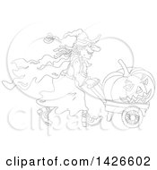 Clipart Of A Black And White Lineart Halloween Witch Pushing A Jackolantern In A Wagon Royalty Free Vector Illustration by Alex Bannykh