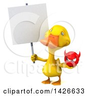 Clipart Of A 3d Yellow Duck On A White Background Royalty Free Vector Illustration