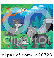 Clipart Of A Group Of Wolves Near A Cave Royalty Free Vector Illustration by visekart