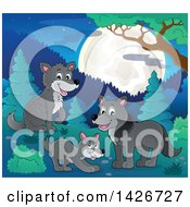 Clipart Of A Group Of Wolves In The Woods Under A Full Moon Royalty Free Vector Illustration by visekart