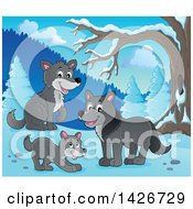 Clipart Of A Group Of Wolves In The Woods On A Winter Day Royalty Free Vector Illustration by visekart