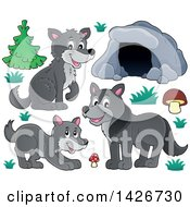 Clipart Of A Cartoon Cave And Wolves Royalty Free Vector Illustration by visekart