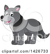 Clipart Of A Cartoon Gray Wolf Royalty Free Vector Illustration by visekart