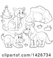 Clipart Of A Cartoon Black And White Lineart Cave And Wolves Royalty Free Vector Illustration by visekart