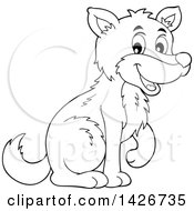 Clipart Of A Cartoon Black And White Lineart Wolf Sitting Royalty Free Vector Illustration by visekart