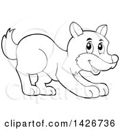 Clipart Of A Cartoon Black And White Lineart Playful Wolf Royalty Free Vector Illustration by visekart