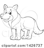 Clipart Of A Cartoon Black And White Lineart Wolf Royalty Free Vector Illustration by visekart