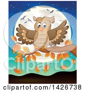 Clipart Of A Happy Owl Landing On An Autumn Branch Against A Full Moon Royalty Free Vector Illustration