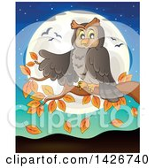 Clipart Of A Happy Owl Presenting On An Autumn Branch Against A Full Moon Royalty Free Vector Illustration