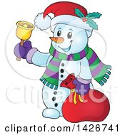 Clipart Of A Festive Christmas Snowman Ringing A Bell And Holding A Sack Royalty Free Vector Illustration