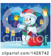 Clipart Of A Festive Christmas Snowman Ringing A Bell And Holding A Sack In A Village At Night Royalty Free Vector Illustration by visekart