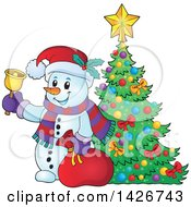 Clipart Of A Festive Christmas Snowman Ringing A Bell And Holding A Sack By A Christmas Tree Royalty Free Vector Illustration