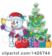 Clipart Of A Festive Snowman Ringing A Bell And Holding A Sack By A Christmas Tree With Gifts Royalty Free Vector Illustration