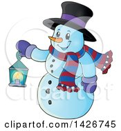 Clipart Of A Snowman Holding A Lantern Royalty Free Vector Illustration by visekart