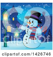 Clipart Of A Snowman Holding A Lantern In A Village At Night Royalty Free Vector Illustration by visekart