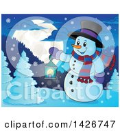Clipart Of A Snowman Holding A Lantern In The Woods Under A Full Moon Royalty Free Vector Illustration by visekart