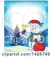 Festive Border Of A Snowman Ringing A Bell And Holding A Sack By A Christmas Tree