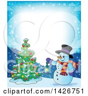 Border Of A Snowman Holding A Lantern By A Christmas Tree