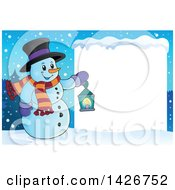 Snowman Holding A Lantern By A Blank Sign In The Snow