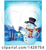 Clipart Of A Border Of A Snowman Holding A Lantern In The Woods Royalty Free Vector Illustration by visekart