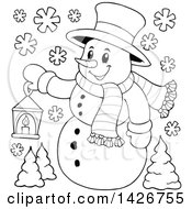 Clipart Of A Black And White Lineart Snowman Holding A Lantern Royalty Free Vector Illustration