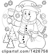 Clipart Of A Black And White Lineart Festive Christmas Snowman Ringing A Bell And Holding A Sack Royalty Free Vector Illustration