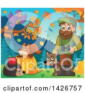 Clipart Of A Happy Male Forester With Animals Binoculars And A Dog In An Autumn Landscape Royalty Free Vector Illustration by visekart