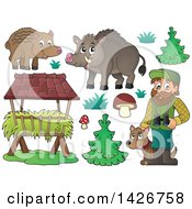 Clipart Of A Male Forest Worker With A Dog Boars Trough Trees Grass And Mushrooms Royalty Free Vector Illustration by visekart