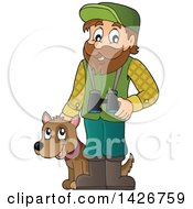 Clipart Of A Happy Male Forester With Binoculars And A Dog Royalty Free Vector Illustration