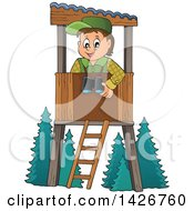 Clipart Of A Happy Male Forester In A Lookout Royalty Free Vector Illustration by visekart