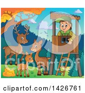 Clipart Of A Happy Male Forester In A Lookout Watching Deer On A Fall Day Royalty Free Vector Illustration by visekart