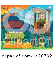 Clipart Of A Happy Male Forester In A Lookout Over Hay On A Fall Day Royalty Free Vector Illustration by visekart