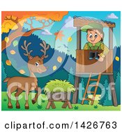 Clipart Of A Happy Male Forester In A Lookout Watching A Buck Deer On A Fall Day Royalty Free Vector Illustration by visekart