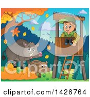 Clipart Of A Happy Male Forester In A Lookout Watching Boars On A Fall Day Royalty Free Vector Illustration by visekart