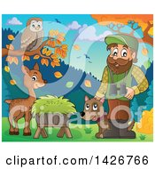 Clipart Of A Happy Male Forester By Animals At A Hay Trough With Binoculars And A Dog Royalty Free Vector Illustration by visekart