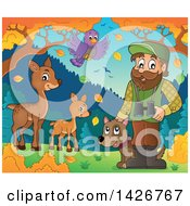 Clipart Of A Happy Male Forester With Wild Life Binoculars And A Dog In An Autumn Landscape Royalty Free Vector Illustration by visekart